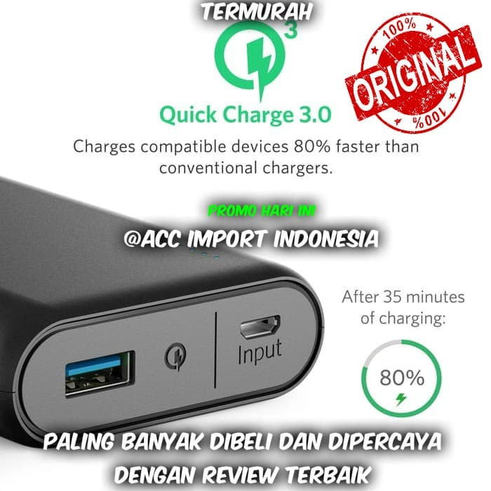 harga Promo ! anker powercore quick charge 3.0 original powerbank 10000 mah Tokopedia.com
