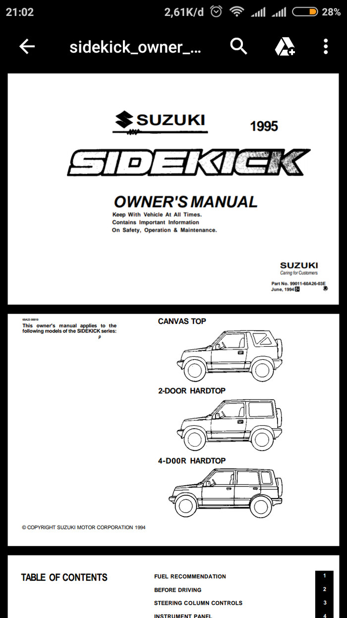 Jual Buku Manual Suzuki Sidekick Vitara Escudo Gen1 Kab Seruyan Tando