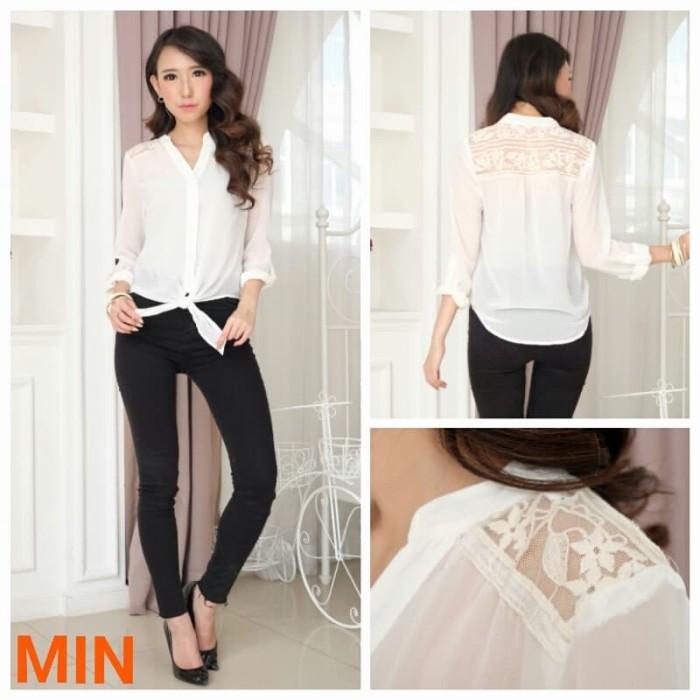 Baju Branded Bom Fash - Kemeja Wanita Lengan Panjang - Warna Putih