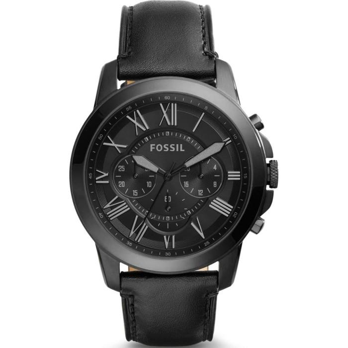 Fossil - jam tangan pria grant chronograph black leather fs5132 -