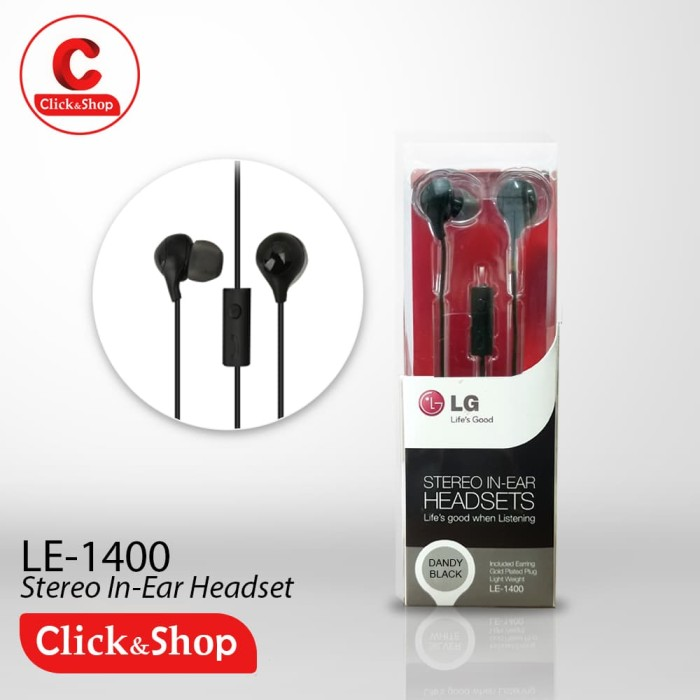 Lg Le - 1400 Headset Stereo In - Ear Earphones With Mic - Hitam - Hitam - Blanja.com