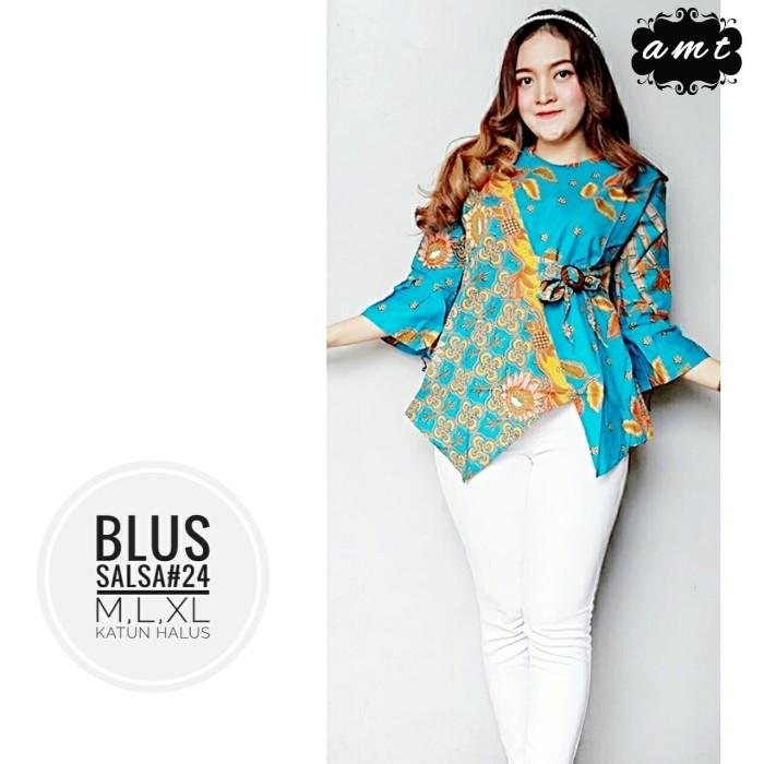 harga Batik solo blus salsa 24 biru amt mars batik amanah surakarta Tokopedia.com