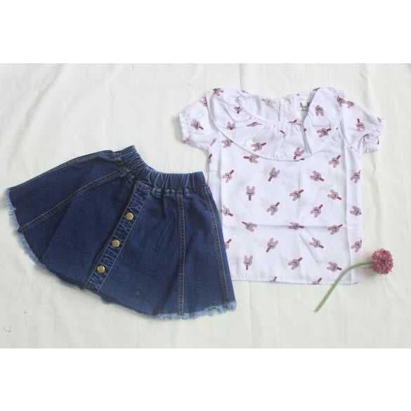 Baju anak perempuan setelan rok jeans / Baju anak remaja 2 sd 13Tahun