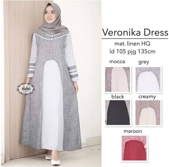 Jual Model Baju Gamis Bahan Linen Veronika Abu Ori By Elsire Harga