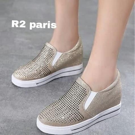 Sepatu Slip On Wedges Wanita Glitter Ababy Hitam silver Gold R2