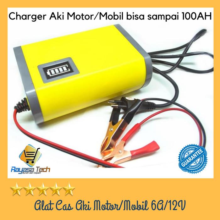 Foto Produk Alat Cas Aki Motor&Mobil/Portable Motorcycle Car Battery Charger 6A/12 dari Rayasa Tech