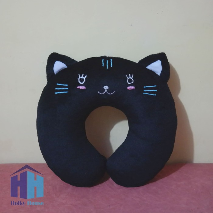 Bantal Leher Karakter Kucing Hitam (Black Cat Neck Pillow)