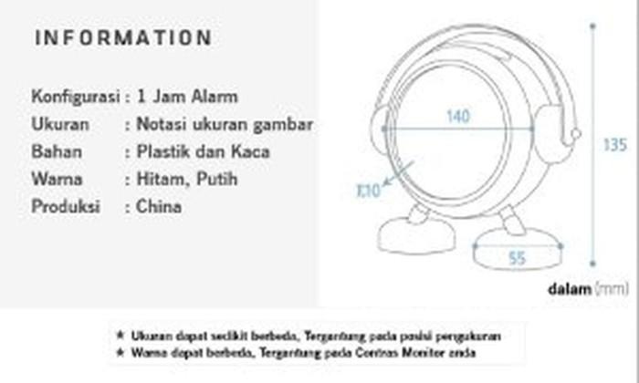 Unik The Olive House - Jam Plastic Baker Jam Alarm - White Murah