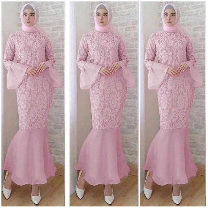harga Baju gamis maxy duyung dusty pink dress baju wanita bagus murah mx vt Tokopedia.com