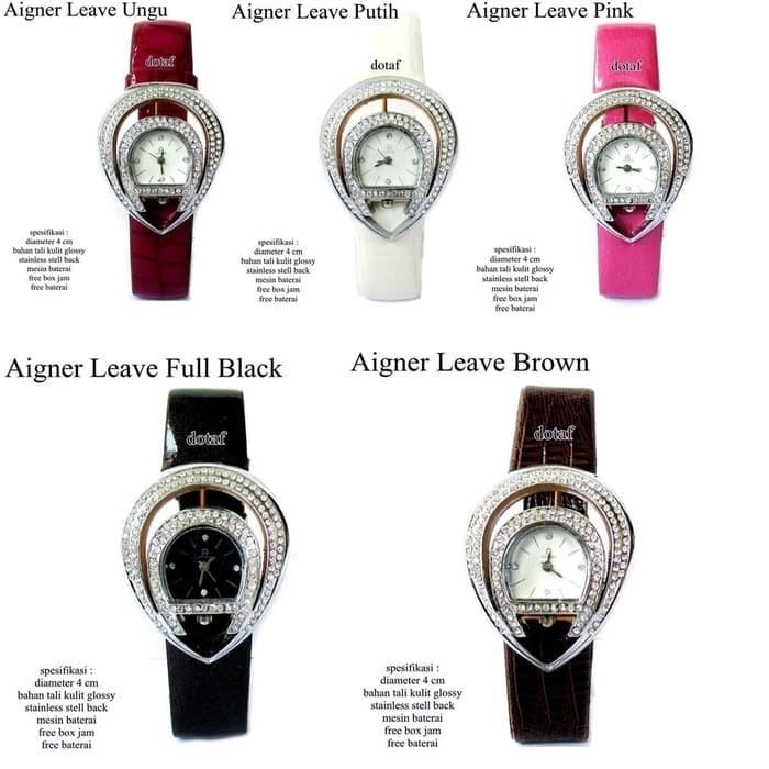 T2105 jam tangan wanita kulit glossy agner leave full set