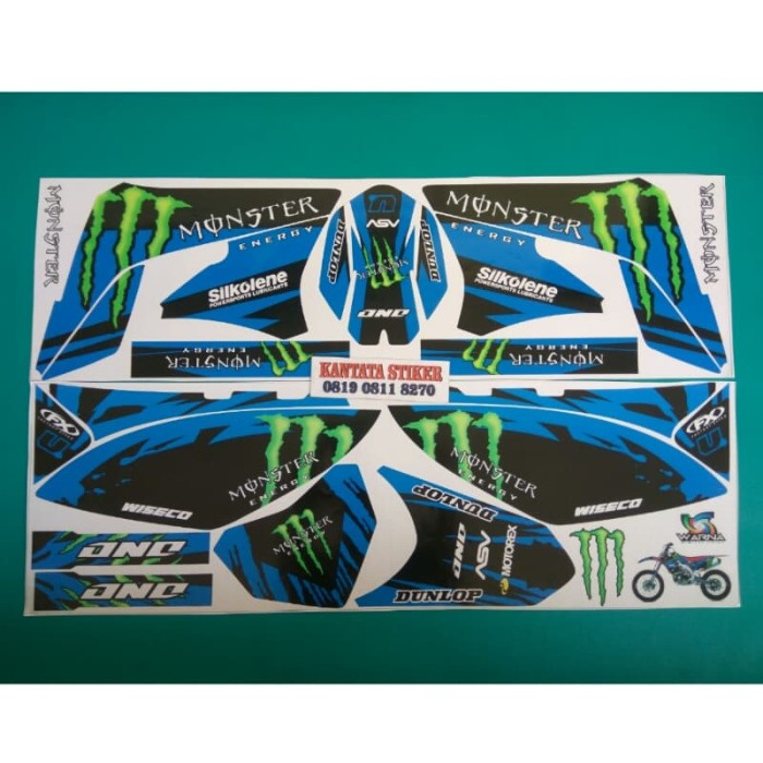 stiker striping motor klx 150 L monster biru