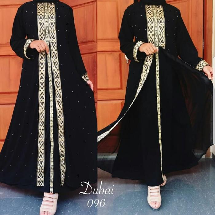 Jual Abaya Dubai 096 Gamis Jubah Hitam Terbaru Arab Busana Muslim