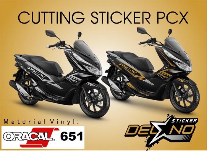 Jual Sticker Cutting Body Stripping Honda Pcx Warna Hitam Kab