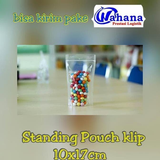 ORIGINAL PLASTIK KLIP KEMASAN BERDIRI STANDING UP POUCH 10 X 17 CM BENING TEBAL JIIYZM. Plastik Ziplock Standing Pouch Ukuran 10X17 Cm Satuan