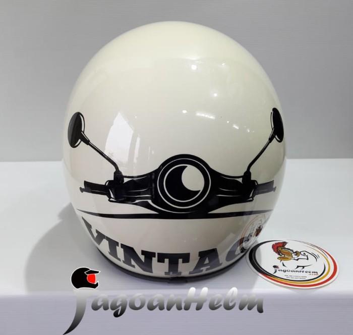 harga Asca helm retro vintage | cream black | bubble visor model bogo Tokopedia.com