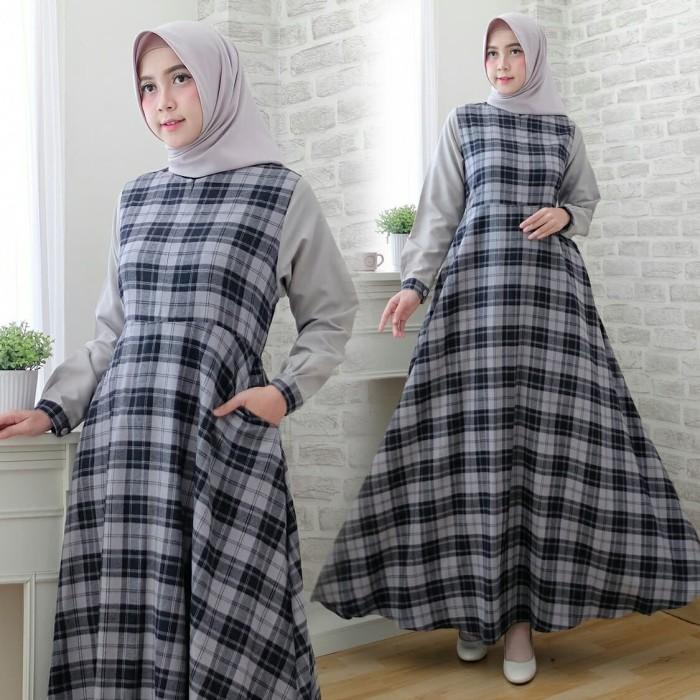 Jual Grey Gamis Flanel Import Mix Toyobo Tartan Syari Baju Busana