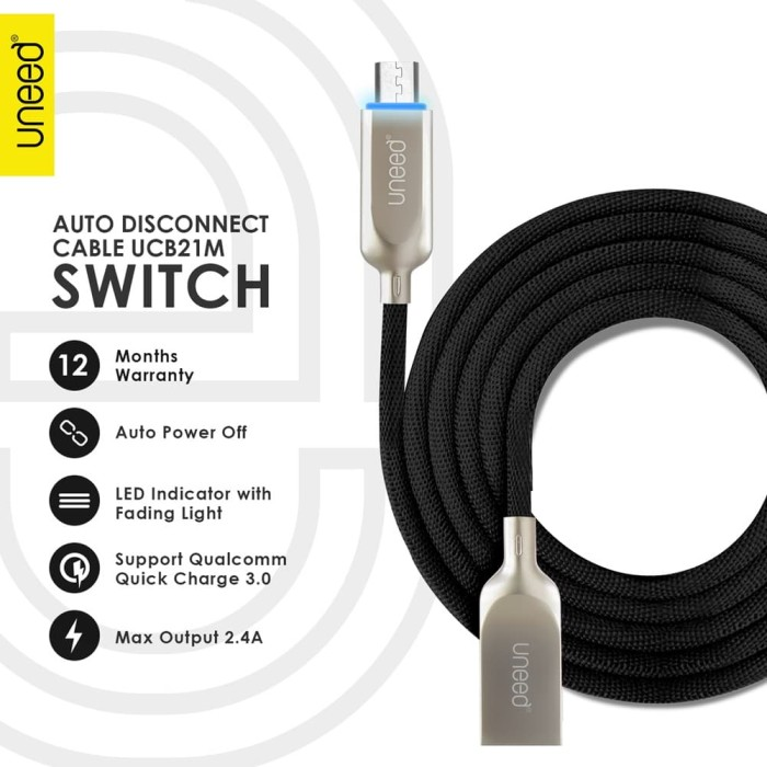 harga Uneed switch auto disconnect kabel data micro usb with qc 3.0 - ucb21m - black Tokopedia.com