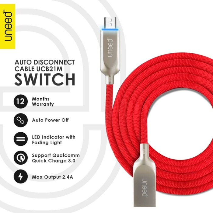 harga Uneed switch auto disconnect kabel data micro usb - ucb21m - red Tokopedia.com