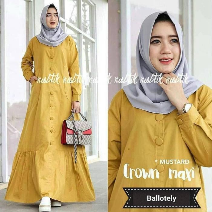 Jual Baju Gamis Wanita Muslim Terbaru Crown Maxi murah - hijabafwa ... a87b0284de