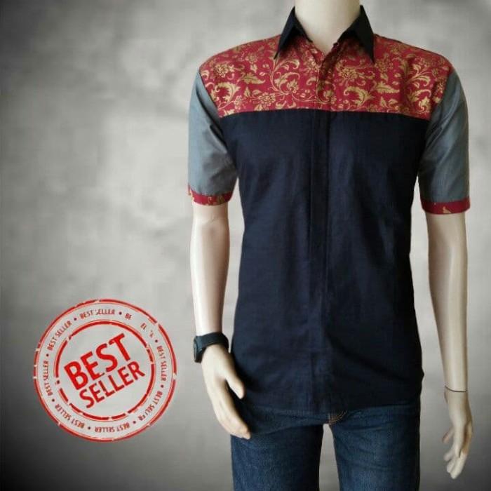 Jual Model Baju Batik Pria Lengan Pendek Kombinasi Prada Pekalongan 6bdff9dc3a
