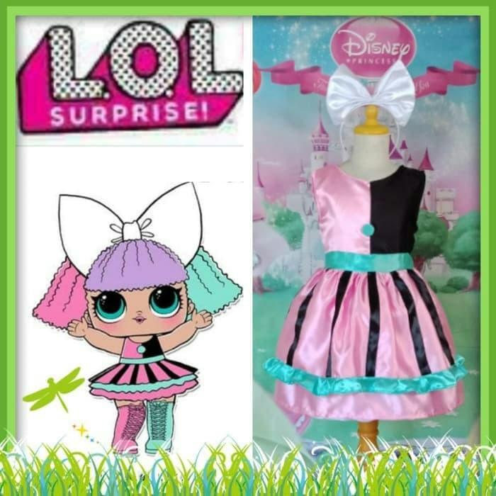 LOL Surprise Girl Denim Jean Dress Cartoon Print Costume Cosplay Party Dress Fun