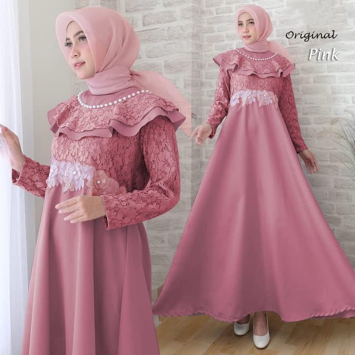 Jual M79 Baju Gamis Pesta Wisuda Muslim Brokat Brukat Raina Warna Pink Jakarta Pusat Wulan Sun Tokopedia