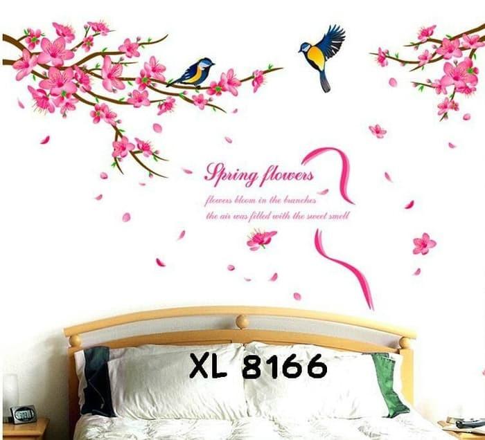jual wall stiker 60x90 xl8166 pink spring flower - kota administrasi