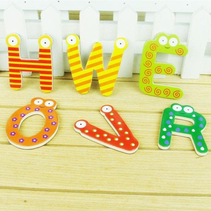 Mainan Magnet Kulkas Bahan Kayu Untuk Edukasi Anak