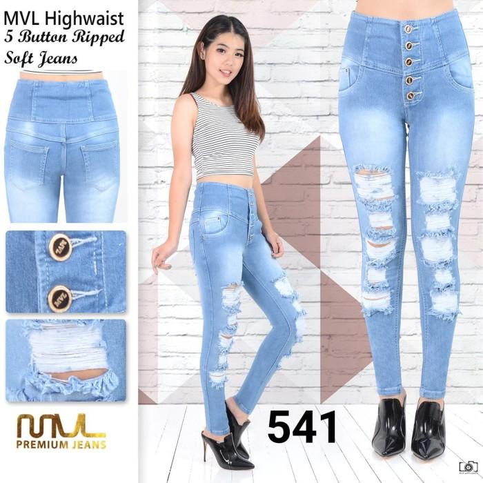 Jual Celana Jeans Kancing 5 Hw Sobek Ripped 541 Trendyjaya Tokopedia