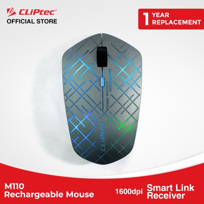 harga Cliptec - m110 / illuminated rechargeable wireless mouse / 1600dpi - grey Tokopedia.com