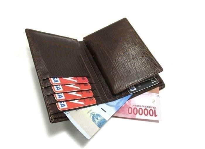 dompet kulit pria asli murah premium dompet 3 4 serat kayu asli garut -  Cokelat b1382123b0