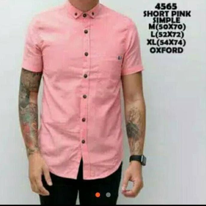 Kemeja Kantor Pria Lengan Pendek Polos Warna Pink Soft