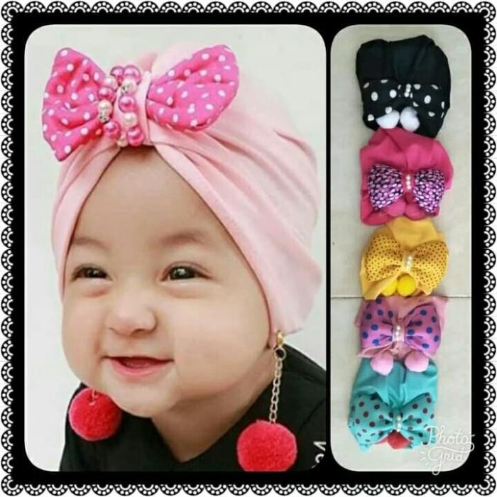 Jual Turban baby pompom - Merah Muda - idbhs  733017c062d