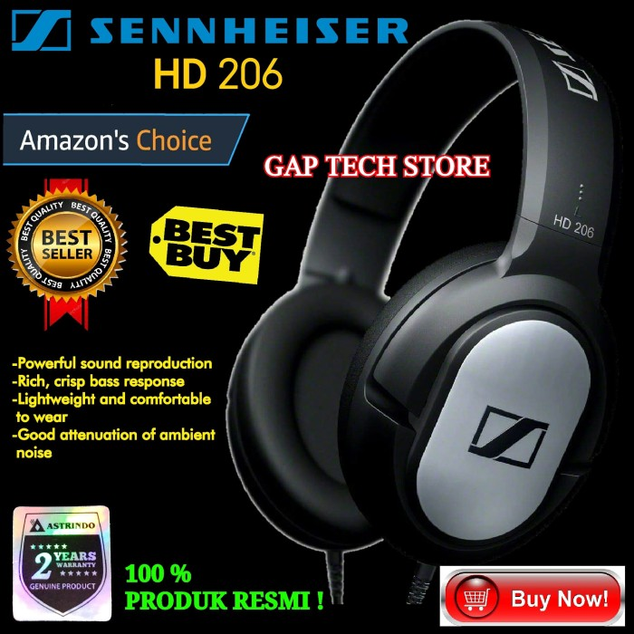 dc6b6e826eb Sennheiser HD 206 / HD206 Closed-Back Over Ear Headphones Original
