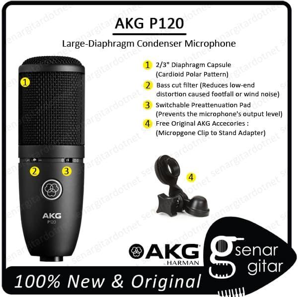 harga Akg p120 cardioid large diaphragm condenser microphone mic recording Tokopedia.com