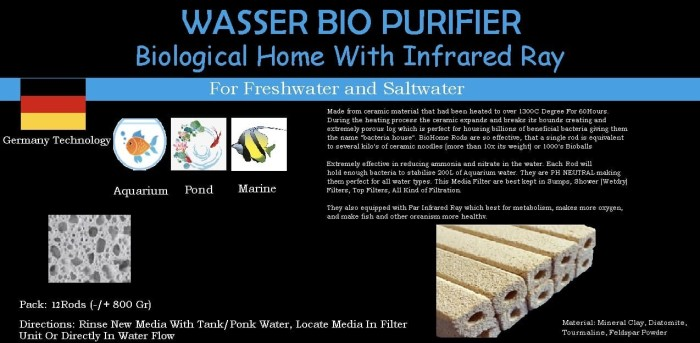 Foto Produk Wasser Bio Purifier Size S (9x2,5Cm/Rods) isi 12 Rods dari Biological Home Aquarium