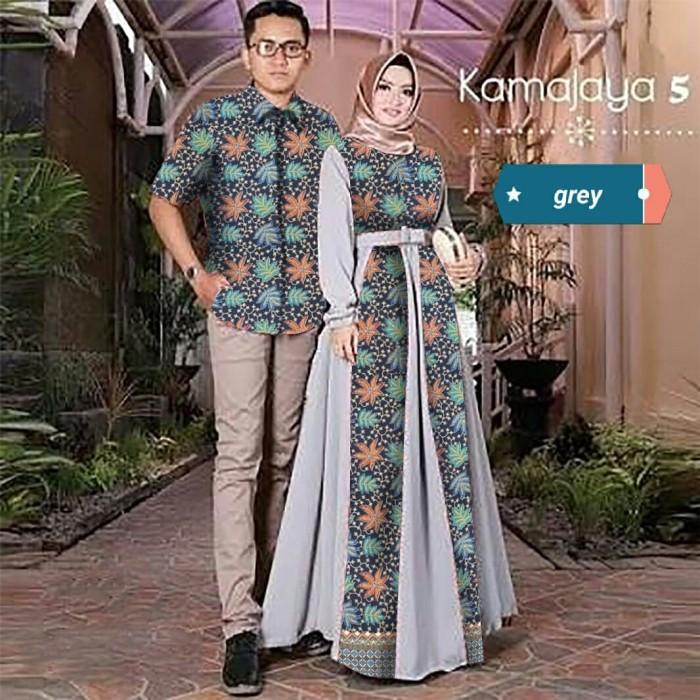 Jual Batik Couple Kamajaya Sarimbit Gamis Couple Baju Batik Navy