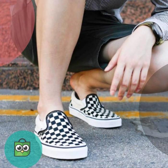 Promo Sepatu Vans Os Checkerboard Catur Stockholm Black White Ready ... 8eee7b302b