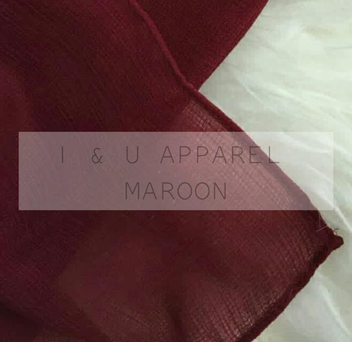 Jual Jilbab Segiempat Premium Cornskin Warna Maroon Hijab Segi