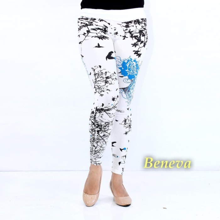 Jual Celana Legging Wanita Celana Senam Wanita Motif Bunga Biru Jakarta Pusat Chaily Tokopedia