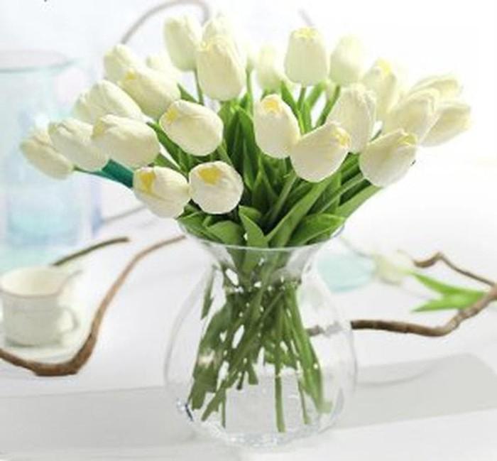 DISKON Bunga Tulip Artificial Latex Import White Cream Murah e5bd33401d
