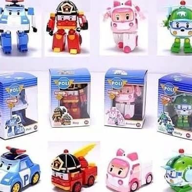 Kado Anak Robocar Poli Korea Cartoon Mobil Mainan 1 Set Dapat 4 pcs