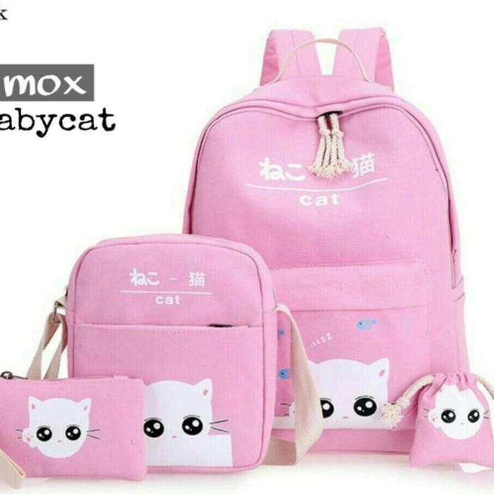 Foto Produk Tas Backpack Wanita Model Babycat Set 4in1 - Hitam dari KebunKoe