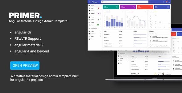 Jual Primer V3 1 1 Angular 5 Material Design Admin Template Dina