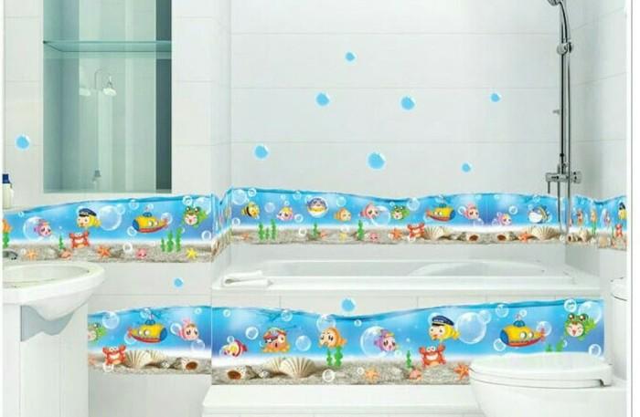 jual wall sticker motif list ikan untuk kamar mandi anak - dki