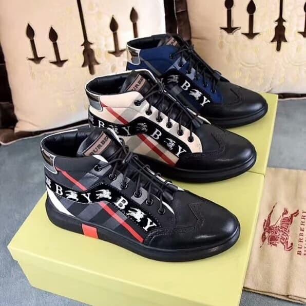 Jual Sepatu Sneakers Casual High Neck Pria Burberry mirror Quality ... cde9ccc202