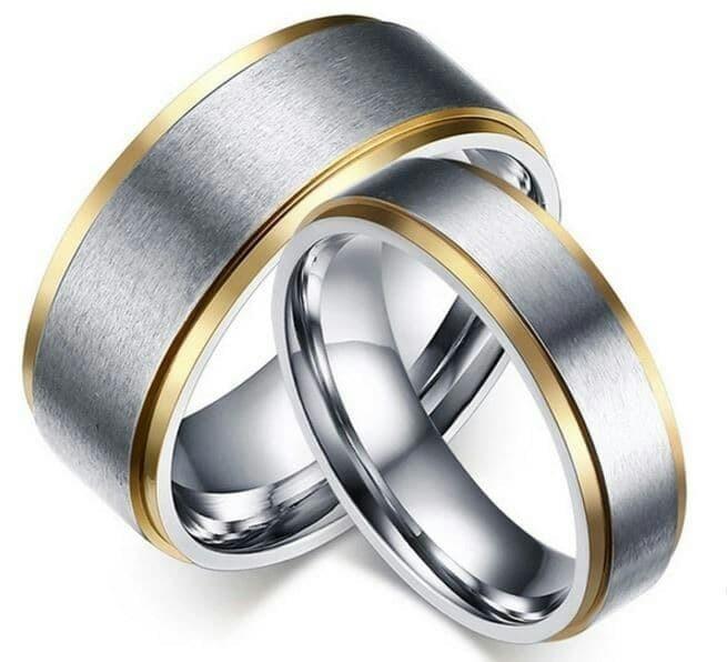 Cincin Tunangan Kawin Nikah Sepasang Couple Emas Putih Mas 375 MURAH