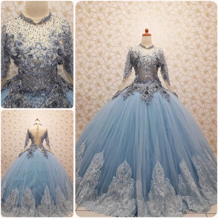 Jual Gaun Kebaya Pengantin Baby Blue Barbie Cantik Kab Karawang