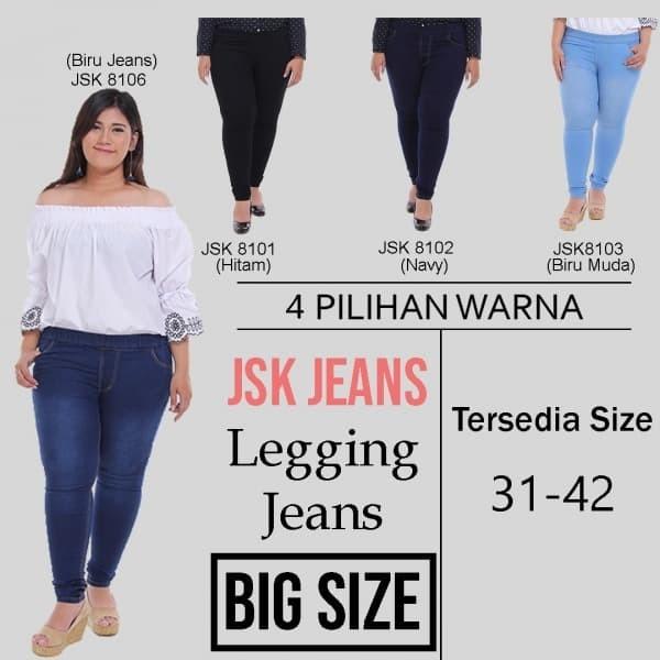 Jual Celana Panjang Legging Jeans Wanita Bigsize Jumbo Pinggang Karet Biru 33 Jakarta Pusat Marshajeans Tokopedia