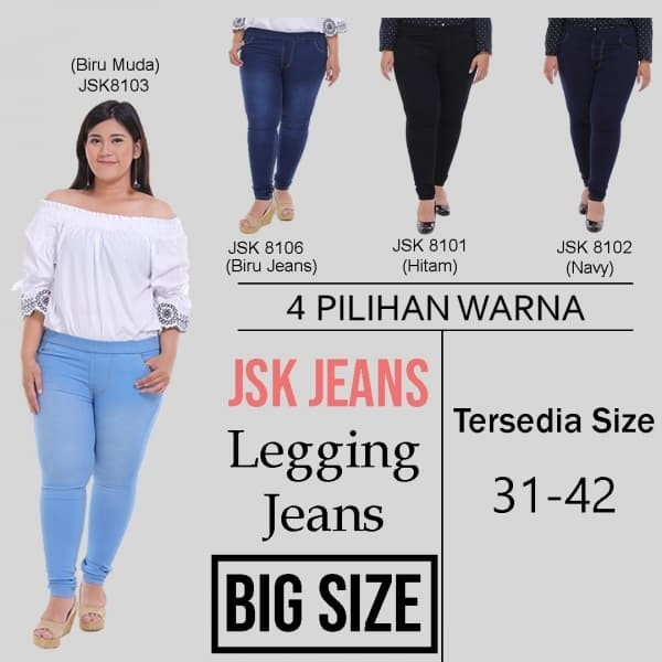 Jual Big Size 31 42 Celana Panjang Legging Jeans Wanita Pinggang Karet Biru Muda 35 Jakarta Pusat Marshajeans Tokopedia